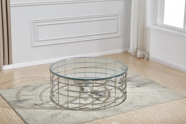 Couchtisch rund Roundy silber Klarglas