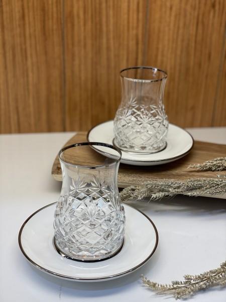 Design Premium Teegläser 6er Set Adia weiss silber