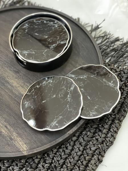 6er Glasuntersetzer Set schwarz silber Marble 0021