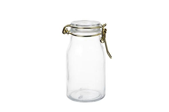 Mini Aufbewahrungsflasche mit gold Metall Behälter Aufbewahrungsglas