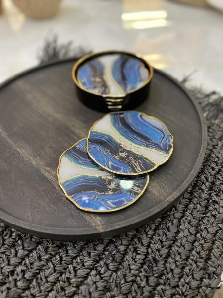 6er Glasuntersetzer Set blau gold