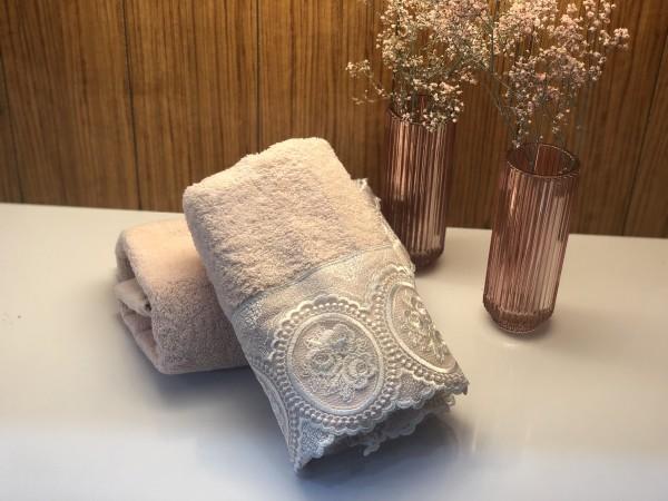 Handtuch mit Spitze rosa weiss 50x90 cm