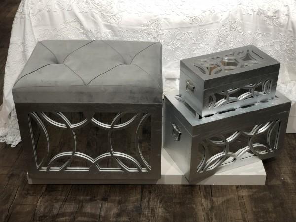 3er design Truhenset verspiegelt silber Aufbewahrungsbox mit Sitzhocker