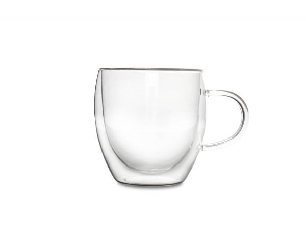 Tasse mit Henkel 0,26l doppelwandig Glas