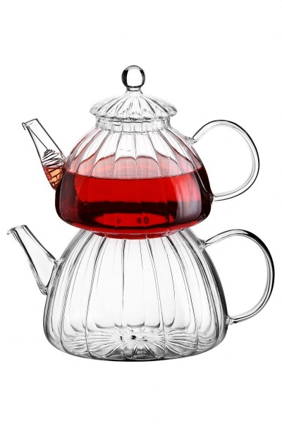 Glaskanne Teekanne aus Borosilikatglas Reliefoptik