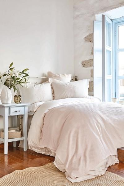 Karaca Home Eleonora Rosa Bettwäsche Set mit Spitze und Bamboo Tagesdecke