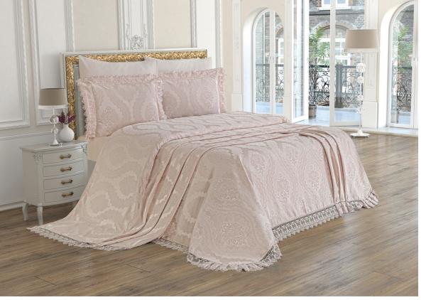 Bettüberwurf Violet rosa Tagesdecke Set 6 teilig