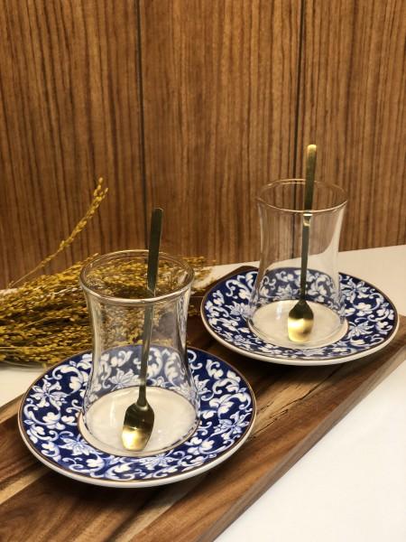 18 tlg. Teegläser Set mit Löffel Gold -Blau BR001