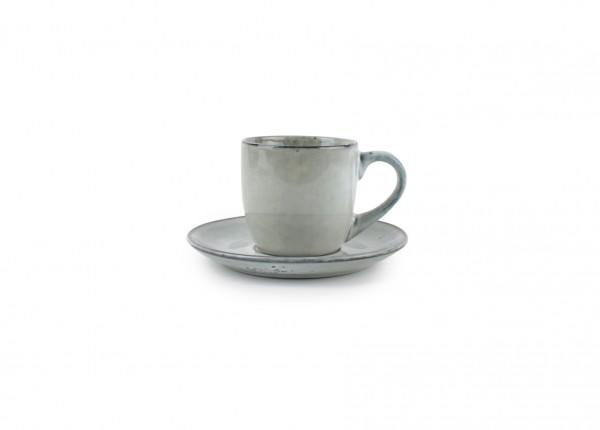 Artisan Kaffee Tasse mit Unterteller 22cl aus Steingut grün