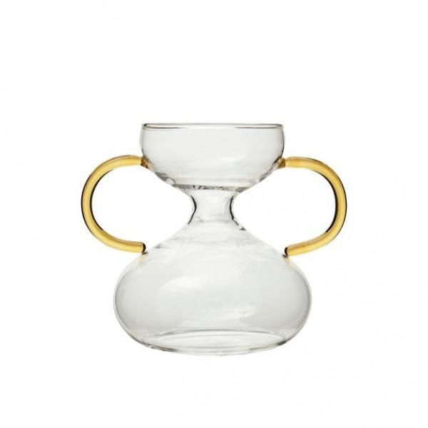 Vase mit Henkel Gelb aus Glas 13x10 x H 11 cm