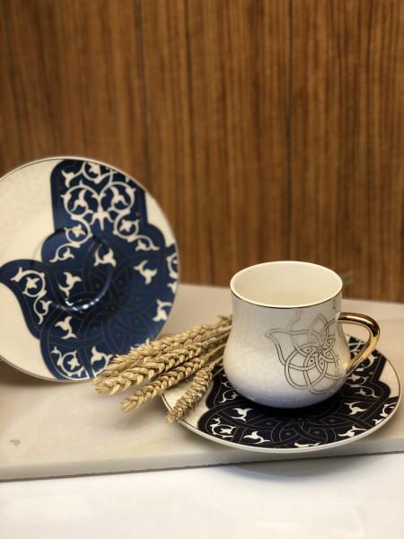 6er Kaffeetassen Set Hamsa gold blau