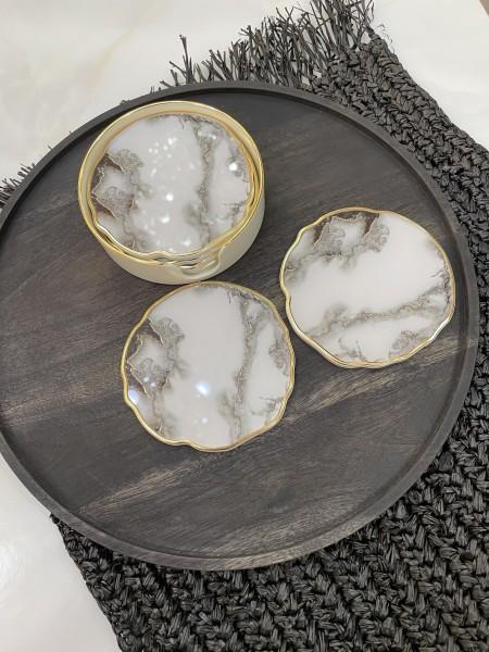 6er Glasuntersetzer Set gold- black marble look