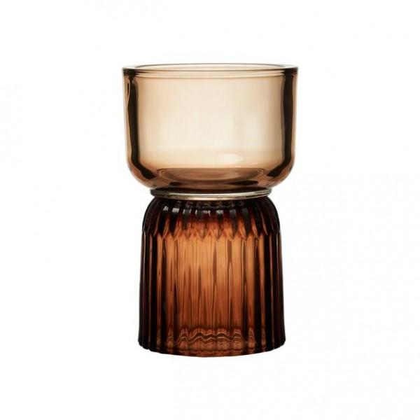 Kerzenhalter Braun auf Fuß 10,5x H 16 ,5 cm