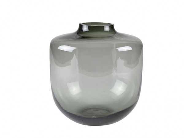 Glas Vase Smoked Glas Grau 21cm x D 20 cm M