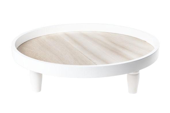 Holz Tablett auf Fuß weiss 36X36XH11