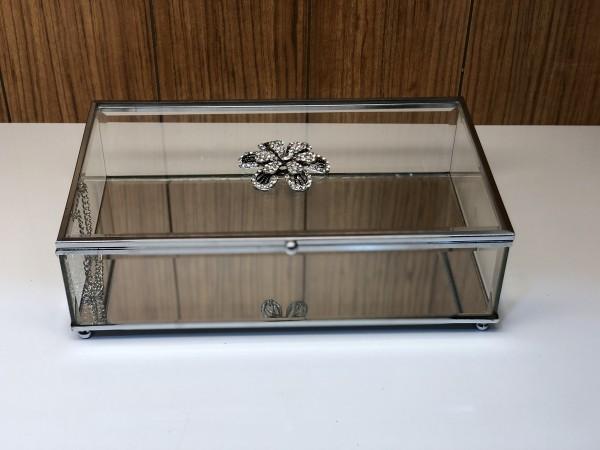 Glasbox 25x15xH8 cm Aufbewahrungsbox Silber Strass