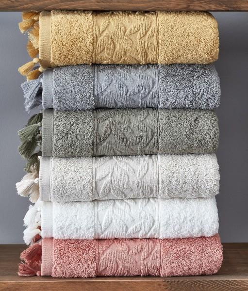Baumwolle Handtuch mit Quasten 50x90cm coral