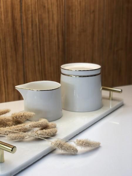 Lunel Gold Milchgießer & Zuckerdose mit Deckel