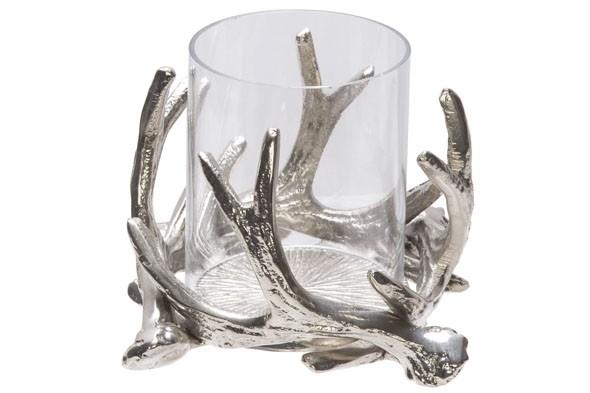 Teelichthalter silber 14x14xH8 cm Nickel