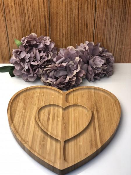 Bamboo Servierplatte Herzform geteilt Bambus 24x22 cm