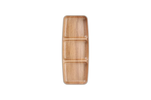 Snackschale in Holzoptik 3geteilt