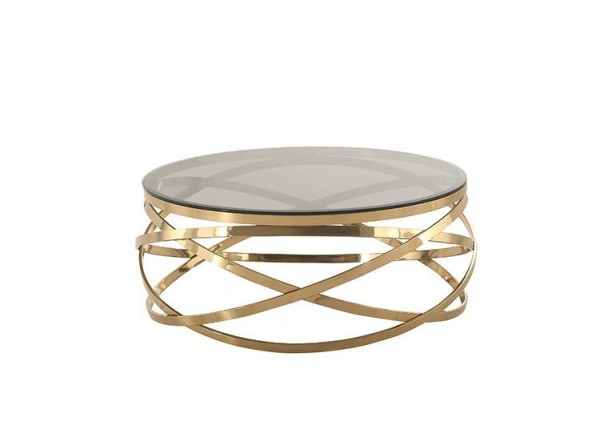 Trento gold Klarglas Couchtisch 100 cm