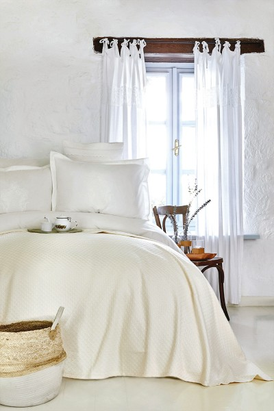Karaca Home Elonora Ekru creme Bettwäsche Set mit Spitze und Bamboo Tagesdecke