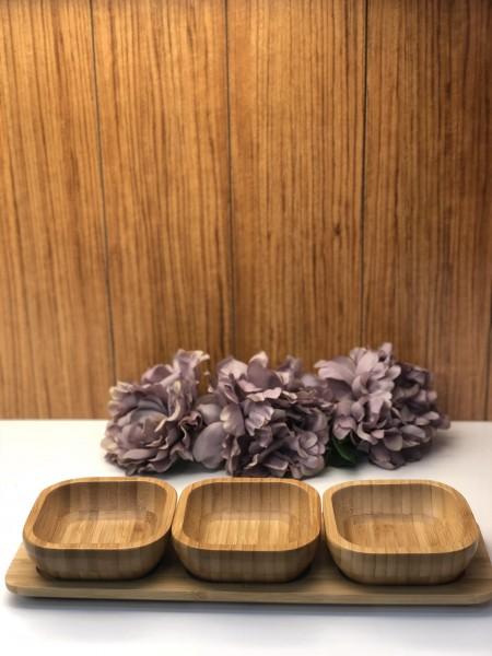 Bamboo Servierplatte geteilt mit 3 Schälchen Bambus