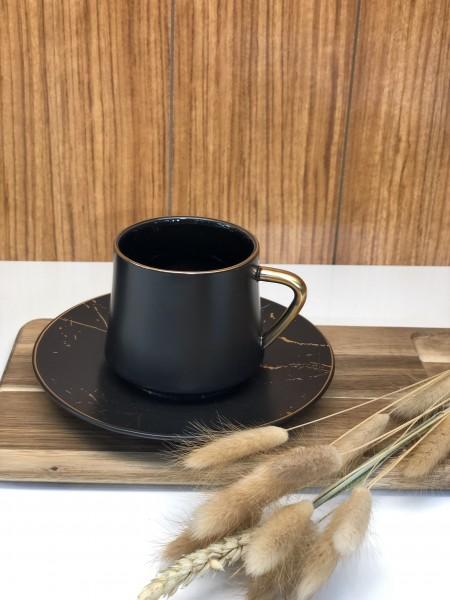 Emy black marble Kaffeetassen Marmor schwarz gold