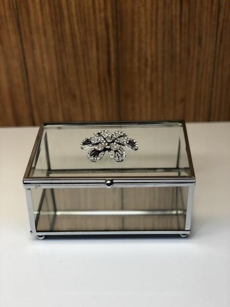 Glasbox 15x10x 8 cm Aufbewahrungsbox Silber Strass