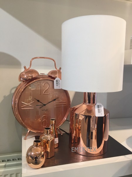 Uhr mit Alarmfunktion 36cm Kupfer Rosegold