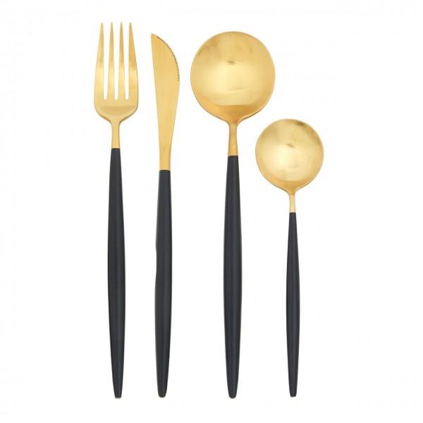 Design Besteckset für 4 Personen 16 tlg. schwarz gold matt