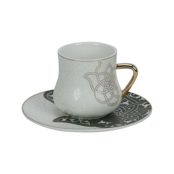 6er Kaffeetassen Set Hamsa gold grün