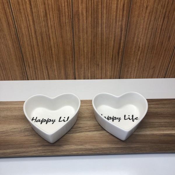 Schälchen Herzform mit Schrift Happy Life