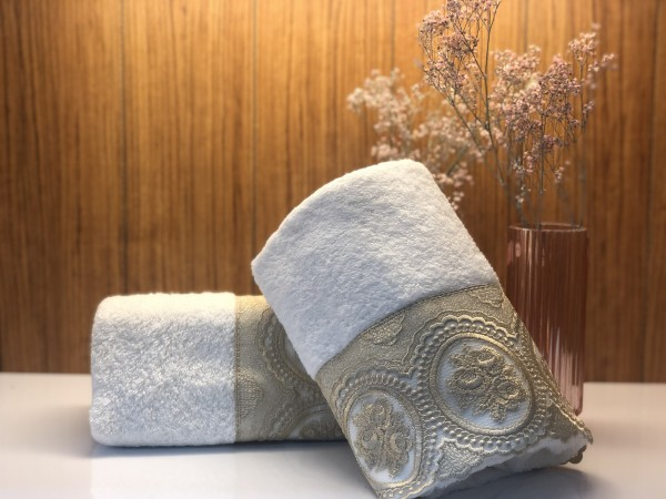Handtuch mit Spitze Cappuccino weiss 50x90 cm