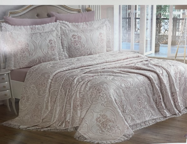 Bettüberwurf Diva Tagesdecke Set 6 teilig rosa