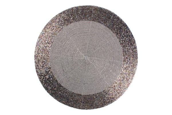 Platzset rund mit Perlen taupe 35 cm