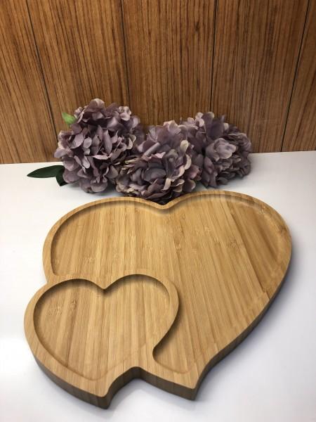 Bamboo Servierplatte Herzform geteilt Bambus