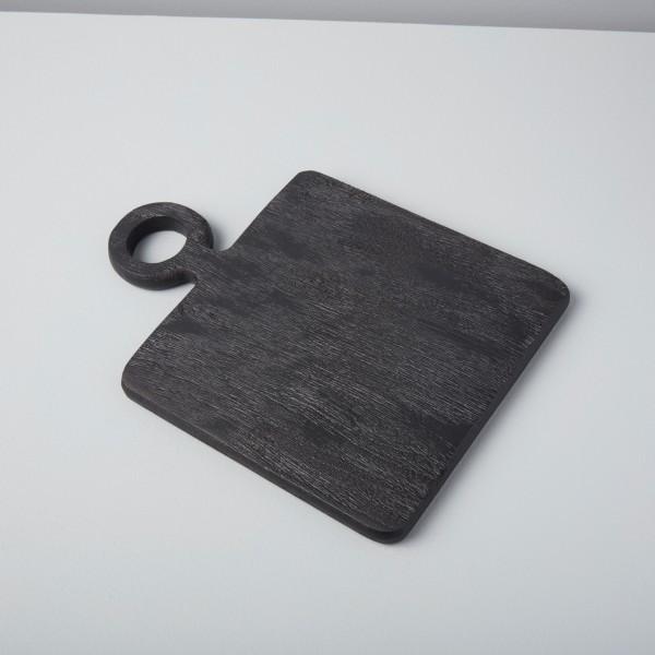 Servierbrett Schwarz klein aus Mangoholz Servierplatte rechteckig 27,5x 19,5cm
