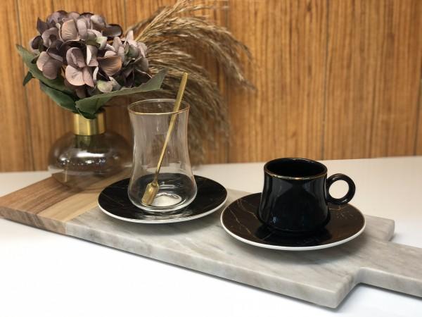 24 tlg. Mokkatassen & Teegläser Set mit Löffel Marmor schwarz gold