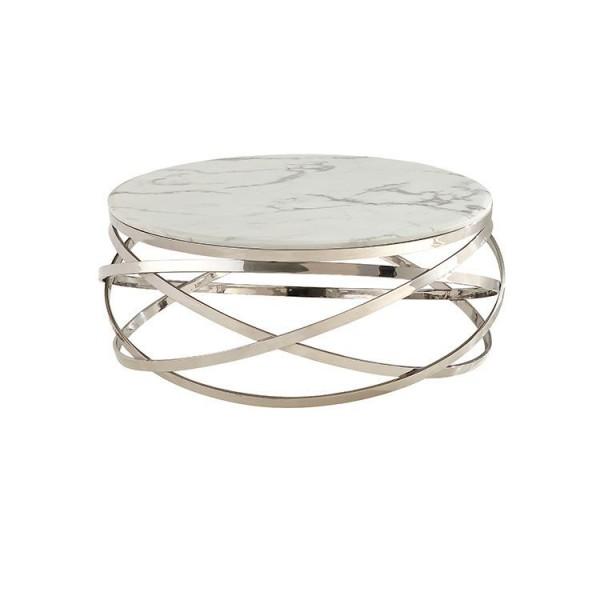Trento silber Couchtisch Marble design 100 cm