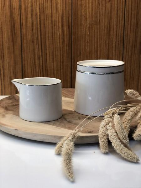 Lunel Silber Milchgießer & Zuckerdose mit Deckel