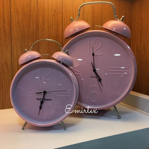 Salt & Pepper rosa Uhr 36 cm mit Alarmfunktion