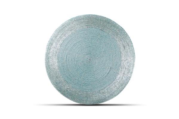 Platzset rund mit Perlen türkis 35 cm