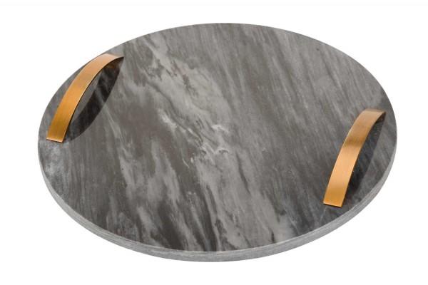 Marmortablett rund mit griff grau gold 30 cm