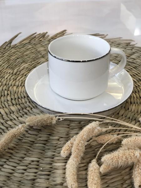 Lunel Silber 6er Kaffeetassen Set silber umrandet