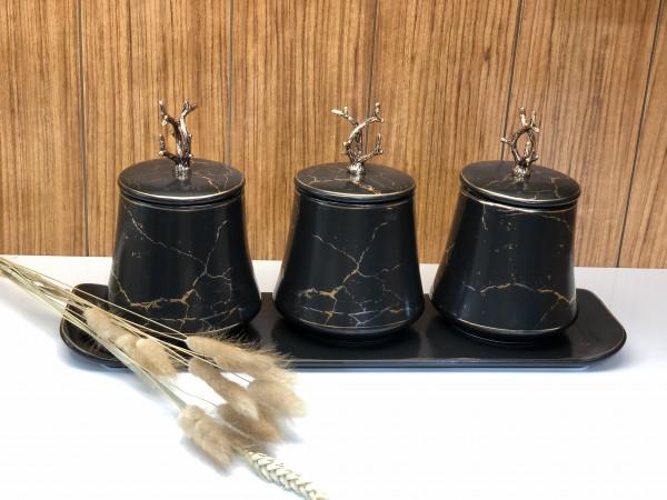 Emy Black Marble 3 er Vorratsdose mit Deckel und Tablett schwarz gold Marmor