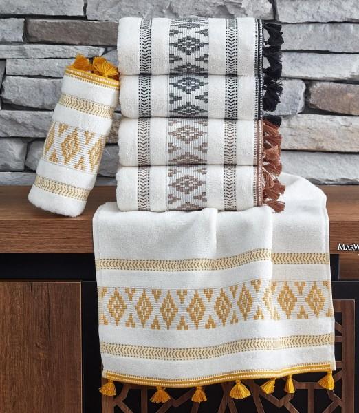 Baumwolle Duschtuch mit Quasten 70x140 cm Jacqui gelb