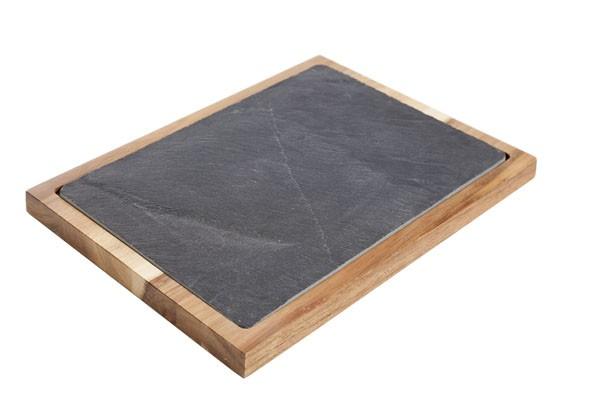 Servierbrett aus Akazienholz mit Schieferplatte